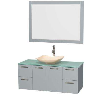 Amare 48 in. W x 21.75 in. D Vanity in Dove Gray with Glass Vanity Top in Green with Ivory Basin and 46 in. Mirror