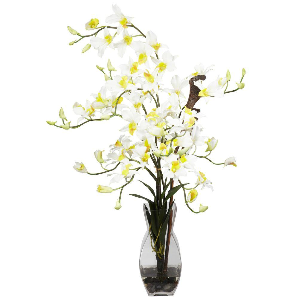 NEARLY NATURAL 35 in. H Cream Dendrobium with Vase Silk Flower Arrangement NEARLY NATURAL 35 in. H Cream Dendrobium with Vase Silk Flower Arrangement