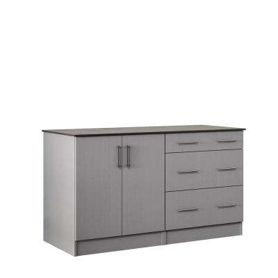 Miami 59.5 in. Outdoor Cabinets with Countertop 2 Full Height Doors and 3-Drawer in Gray