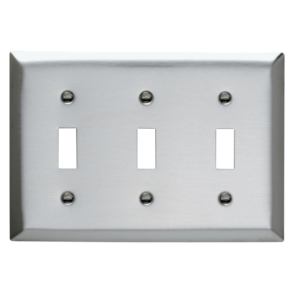 Legrand Pass Seymour 3Gang 3 Toggles Wall Plate Stainless