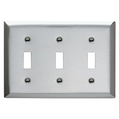Pass & Seymour 430S/S 3 Gang 3 Toggle Wall Plate, Stainless Steel (1-Pack)