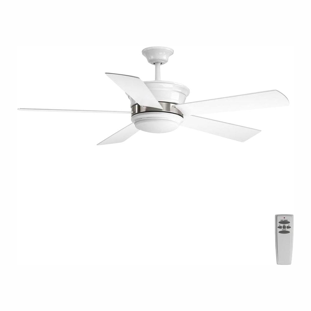 Progress Lighting Harranvale Collection 54 In Led Indoor White Modern Ceiling Fan With Light Kit And Remote P2540 3030k The Home Depot
