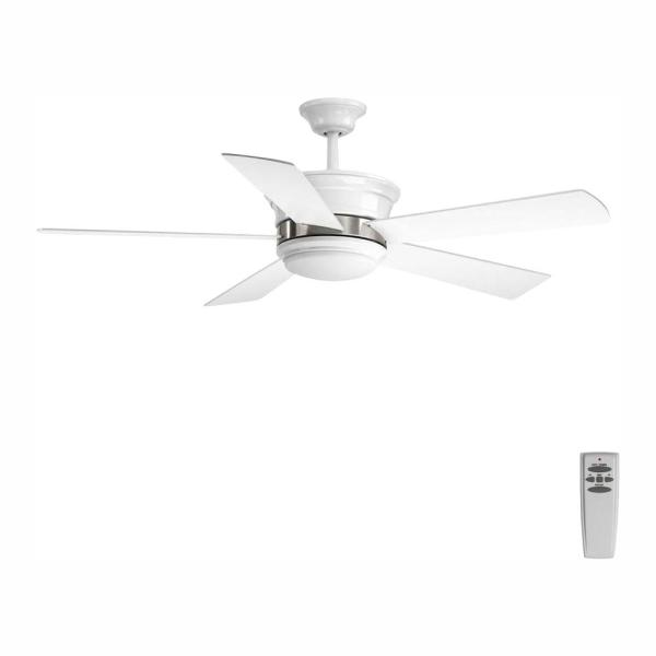 Harranvale Collection 54 in. LED Indoor White Modern Ceiling Fan with Light Kit and Remote