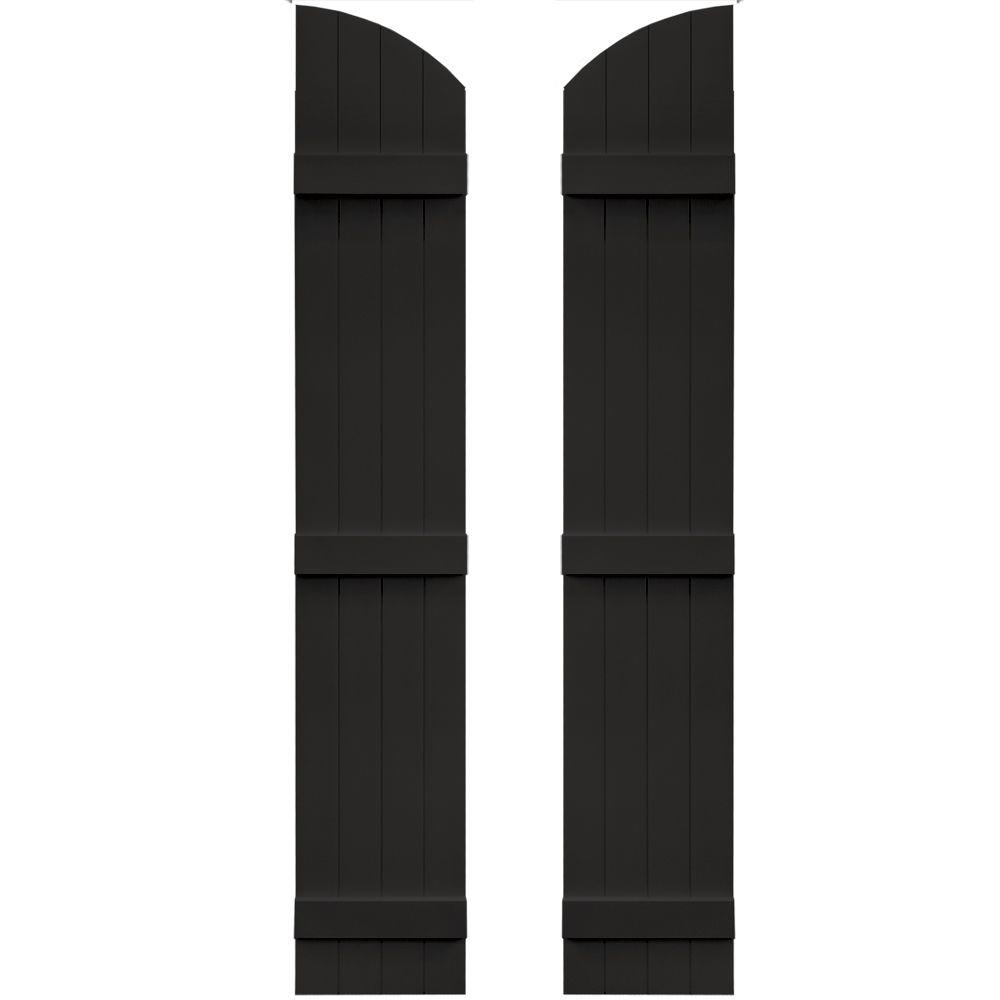 Builders Edge 14 in. x 81 in. Board-N-Batten Shutters Pair, 4 Boards Joined with Arch Top #002 Black