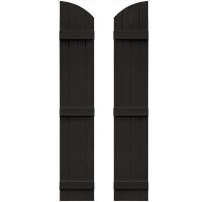 14 in. x 81 in. Board-N-Batten Shutters Pair, 4 Boards Joined with Arch Top #002 Black