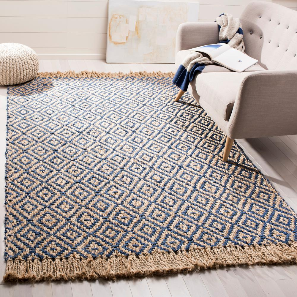 Excellent Safavieh Natural Fiber Tropical Blue Beige 6 Ft X 9 Ft Indoor Area Rug Bralicious Painted Fabric Chair Ideas Braliciousco