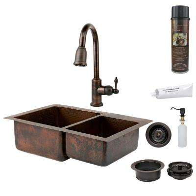 All-in-One Undermount Hammered Copper 33 in. 0-Hole Double Bowl Kitchen Sink in Oil Rubbed Bronze