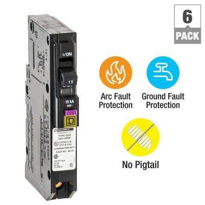 QO 15 Amp Single-Pole Plug-On Neutral Dual Function (CAFCI and GFCI) Circuit Breaker (6-Pack)