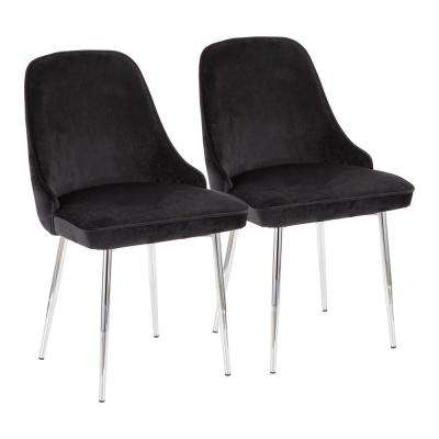 Marcel Black Velvet and Chrome Dining Chair (Set of 2)