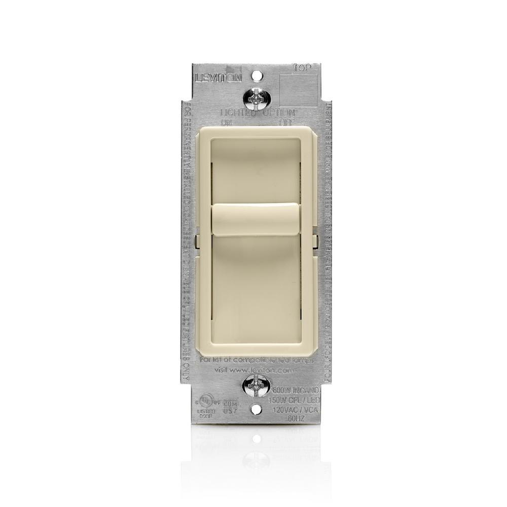 leviton sureslide universal 150 watt led cfl incandescent slide to off dimmer light almond 6672. Black Bedroom Furniture Sets. Home Design Ideas