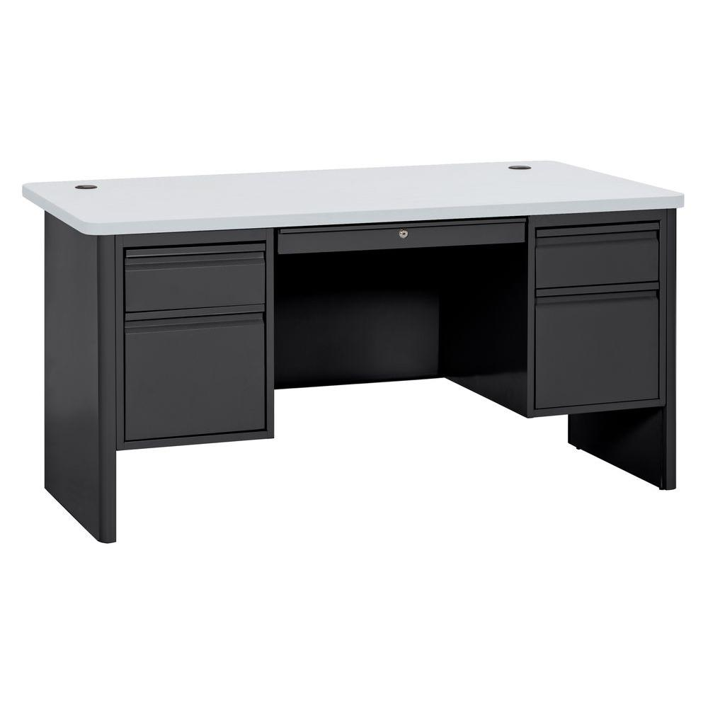 700 Series Double Pedestal Teachers Desk in Black/Grey Nebula