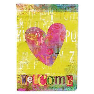 28 in. x 40 in. Polyester Artsy Welcome Heart Flag Canvas House Size 2-Sided Heavyweight