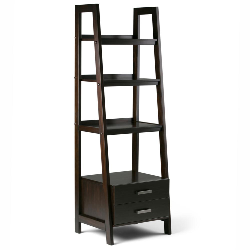 Sawhorse Solid Wood 72 in. x 24 in. Modern Industrial Ladder Shelf with Storage in Dark Chestnut Brown