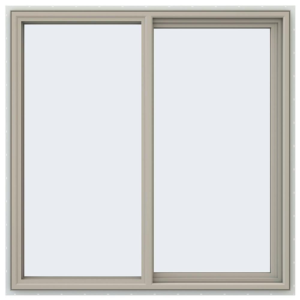 47.5 in. x 47.5 in. V-4500 Series Desert Sand Painted Vinyl Right-Handed Sliding Window with Fiberglass Mesh Screen