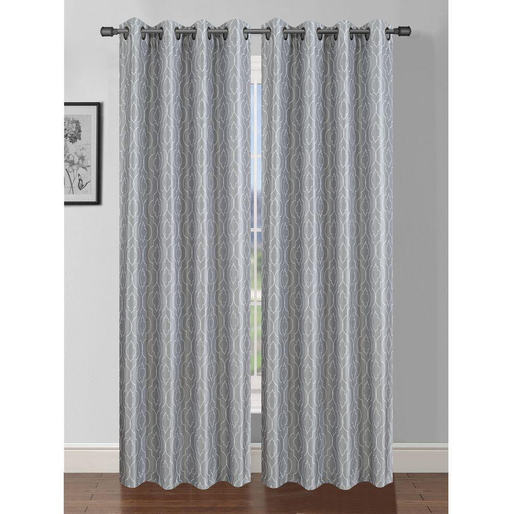 Semi Opaque Jasper Printed Faux Silk 84 In L Grommet Curtain Panel Pair Light Grey White Set Of 2
