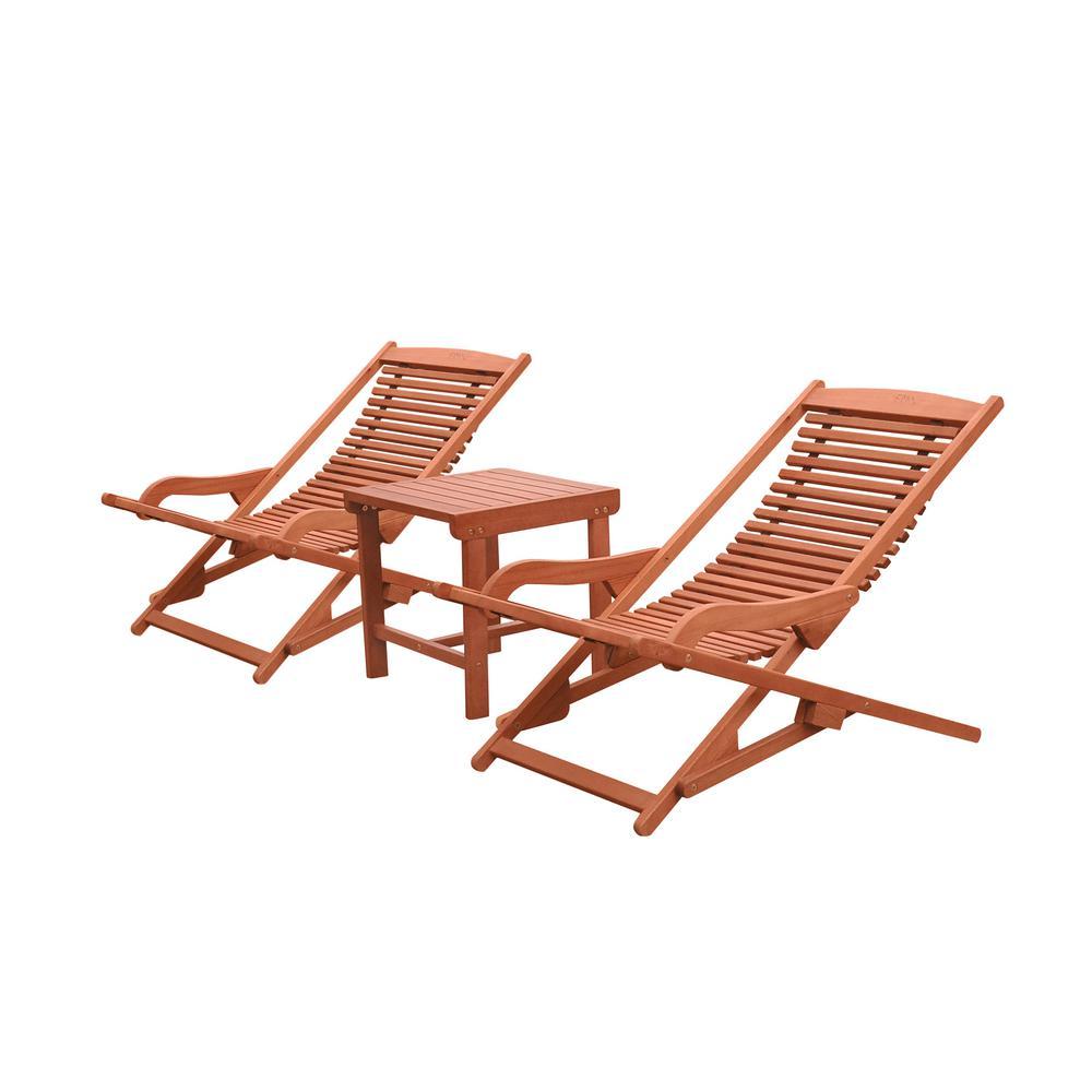 Vifah Malibu 3-Piece Wood Outdoor Chaise Lounge