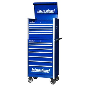 International Pro Series 27 inch 12-Drawer Tool Chest and Cabinet Combo Blue by International