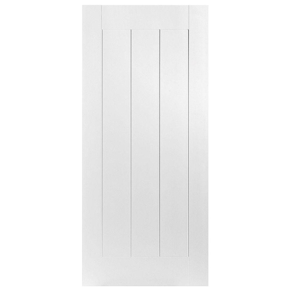 Masonite 28 in. x 80 in. Saddlebrook 1-Panel Plank Right-Handed Hollow-Core Smooth Primed Composite Single Prehung Interior Door