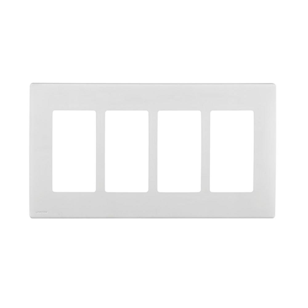 Leviton Renu 4 Gang Screwless Snap-on Wall Plate - White on White-DISCONTINUED