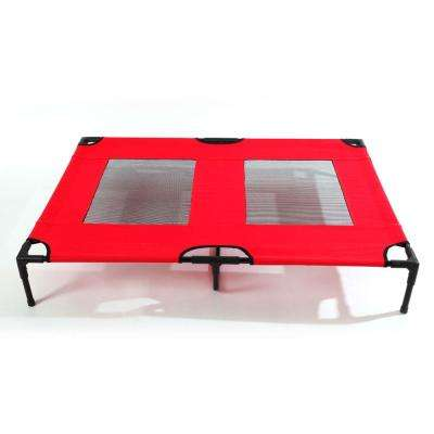 Detachable Assembly Style Breathable Pet Steel Frame Camp Bed L Red