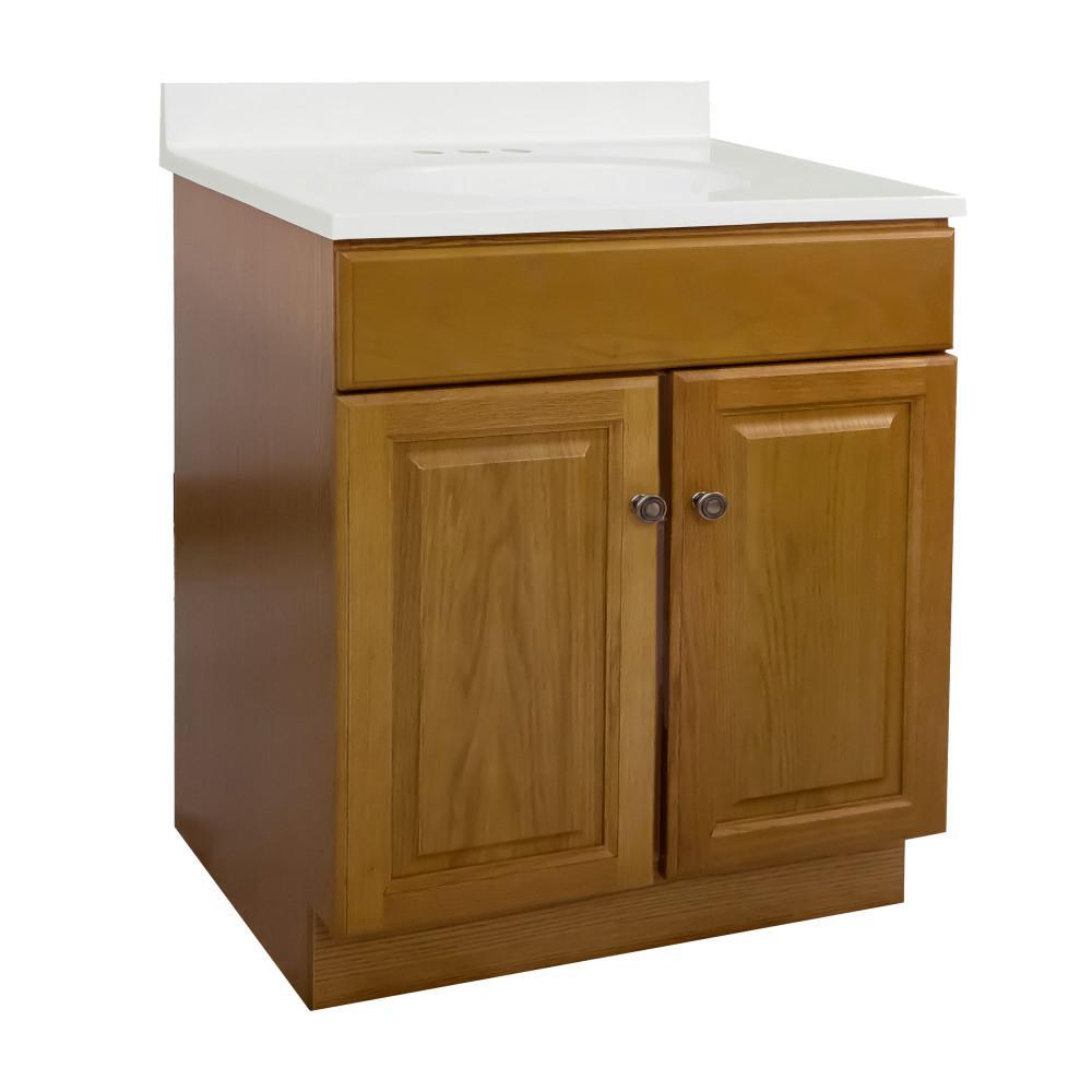30 in. x 18 in. x 31.5 in. 2-Door Bath Vanity in Honey Oak with 4 in. Centerset White on White CM Vanity Top and Basin