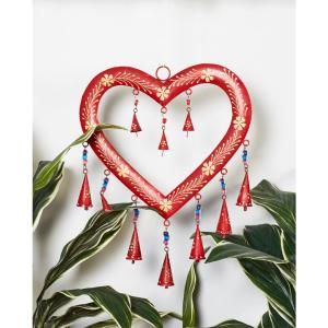 Red and Gold Iron Heart Wind Chime with Multi-Colored Glass Beads by