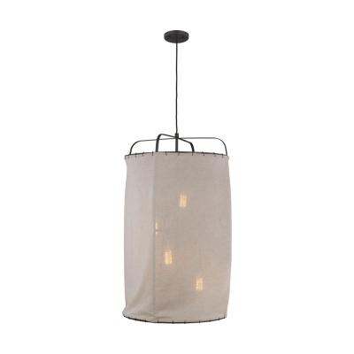 ED Ellen DeGeneres Crafted by Generation Lighting Dunne 21.875 in. W 4-Light Aged Iron Pendant with Natural Linen Shade