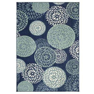 Foliage Friends Blue 8 ft. x 10 ft. Indoor Area Rug