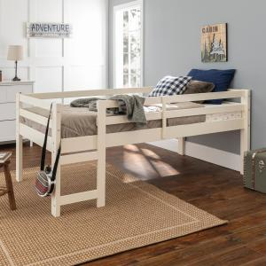Deals on Walker Edison Traditional Solid Wood Open Storage Low Twin Loft Bed