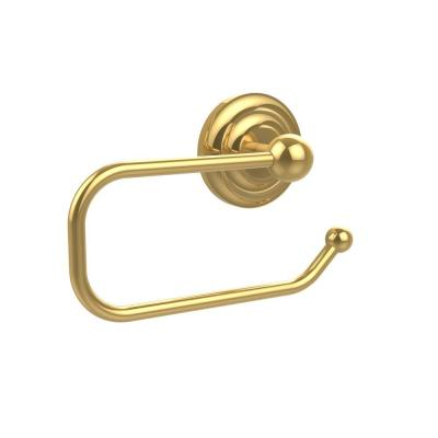 Que New Collection European Style Single Post Toilet Paper Holder in Polished Brass