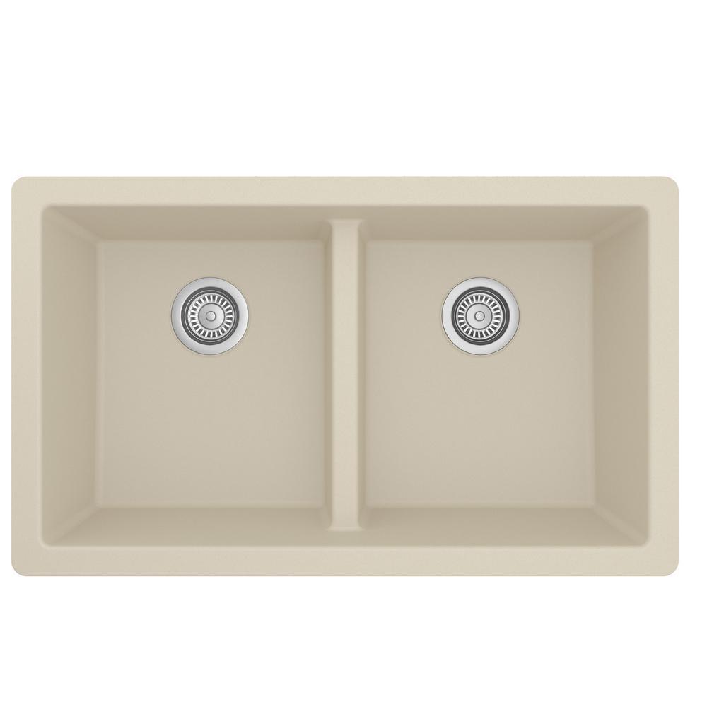 Bisque Quartz 32 in. Double Bowl Undermount Kitchen Sink