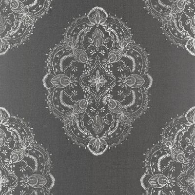Mirador Black Global Medallion Wallpaper Sample