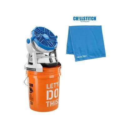 18-Volt 2-Speed Misting Bucket Top Fan + 10 in. x 20 in. Multi-Wrap Towel Blue