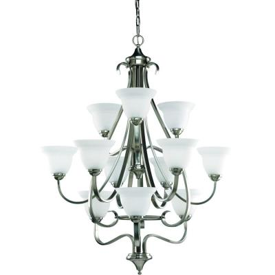 Torino 12-Light Brushed Nickel Chandelier with Etched Glass Shade