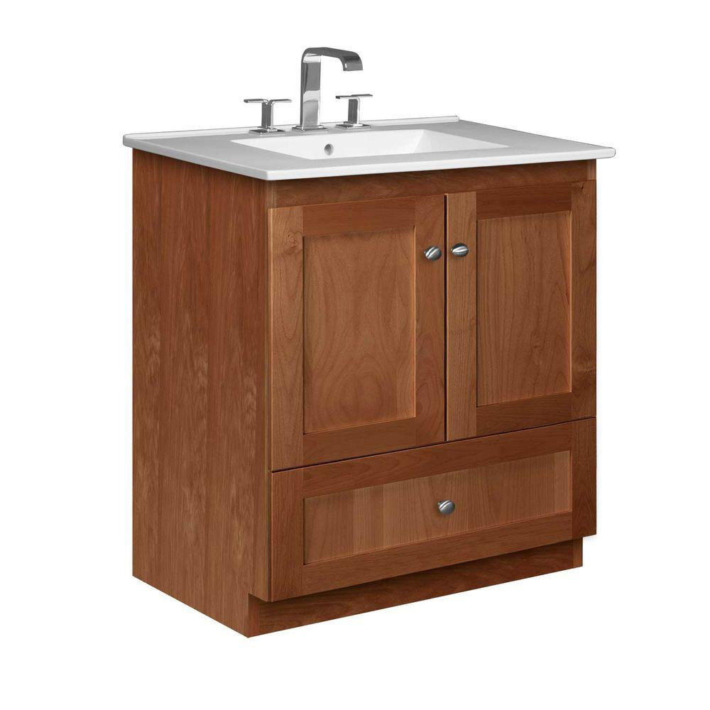 Simplicity by Strasser Shaker 31 in. W x 22 in. D x 35 in. H Vanity with No Side Drawers in Medium Alder with Ceramic Vanity Top in White