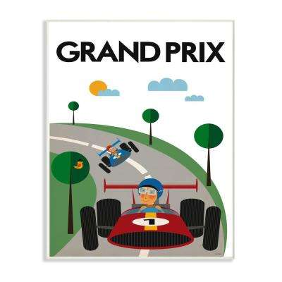 "12.5 in. x 18.5 in. ""Green Orange Blue and Red Grand Prix Minimal Mod Race Cars"" by Tomas Design Wood Wall Art"