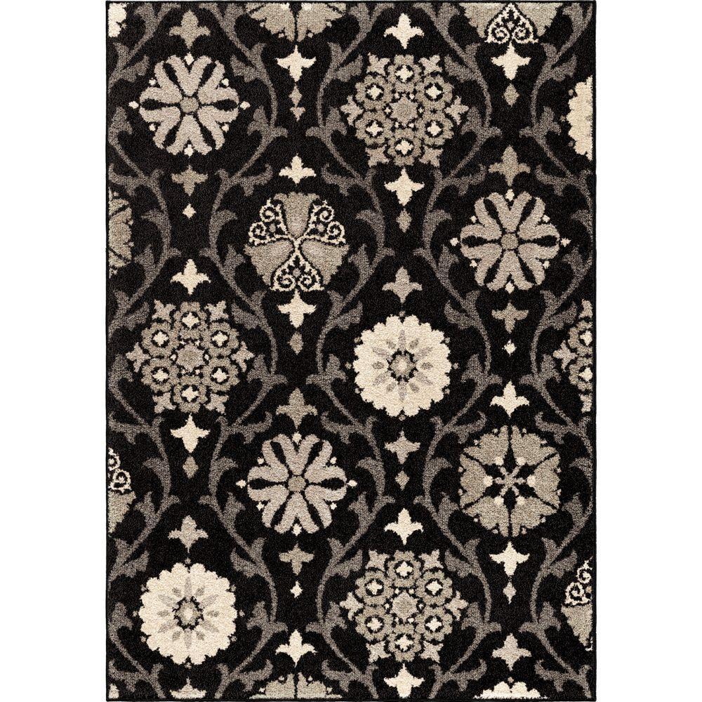Borrego Black 8 ft. x 11 ft. Floral Modern Indoor Area Rug