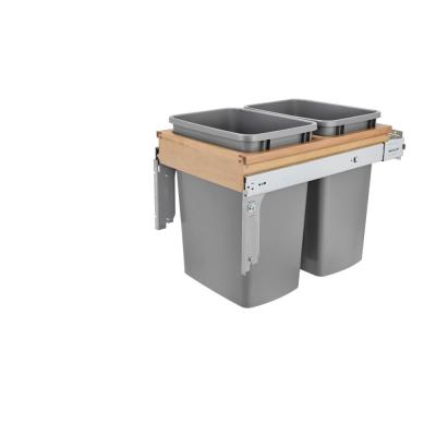 Double 35 Qt. Pull-Out Top Mount and Silver Container with Ball-Bearing Soft-Close Cabinet