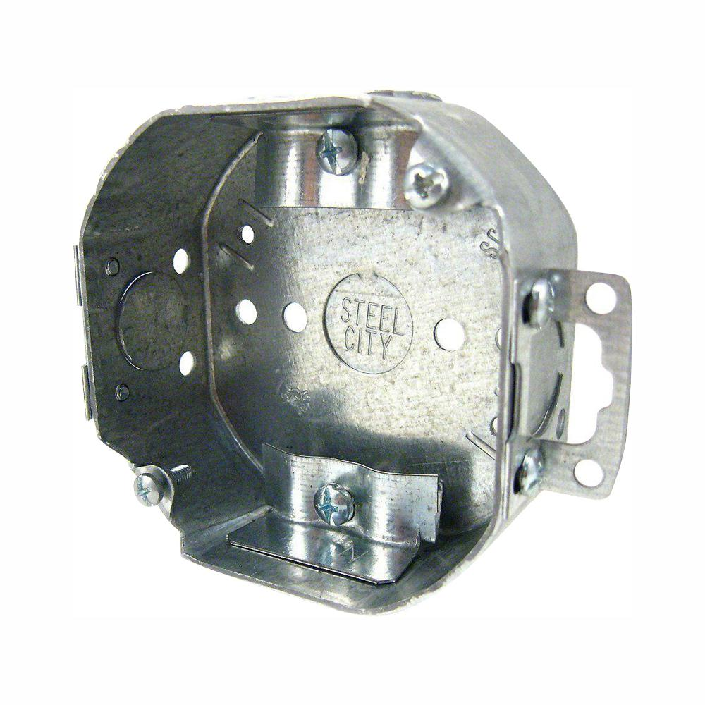 Steel City 4 In 1 1 2 In Old Work Deep Octagon Metal Electrical Box Nmsc Cable Clamps And Plaster Ears Case Of 24