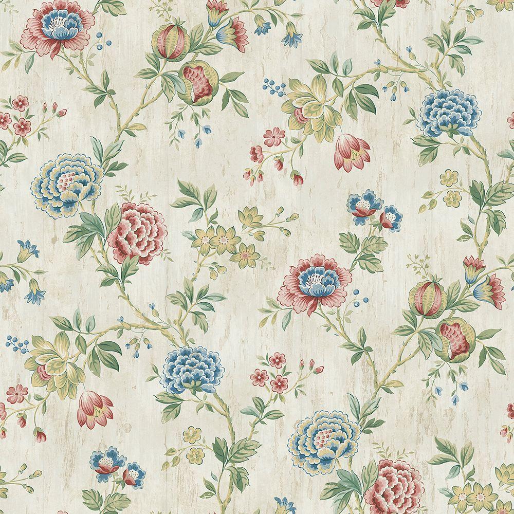 Chrysanthemum Ruby Jacobean Wallpaper