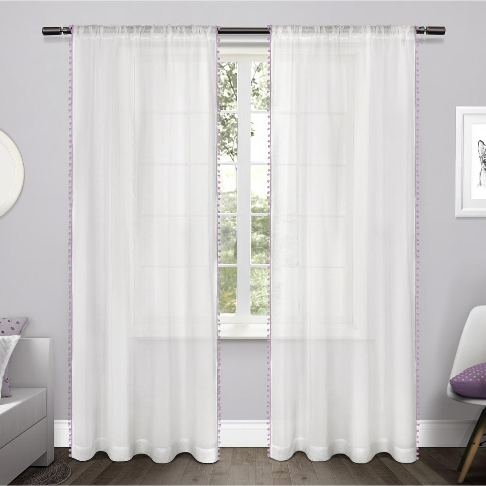 incredible Textured Sheer Curtains Part - 8: Pom Lilac Pom Applique Bordered Textured Sheer Rod Pocket Top Window Curtain