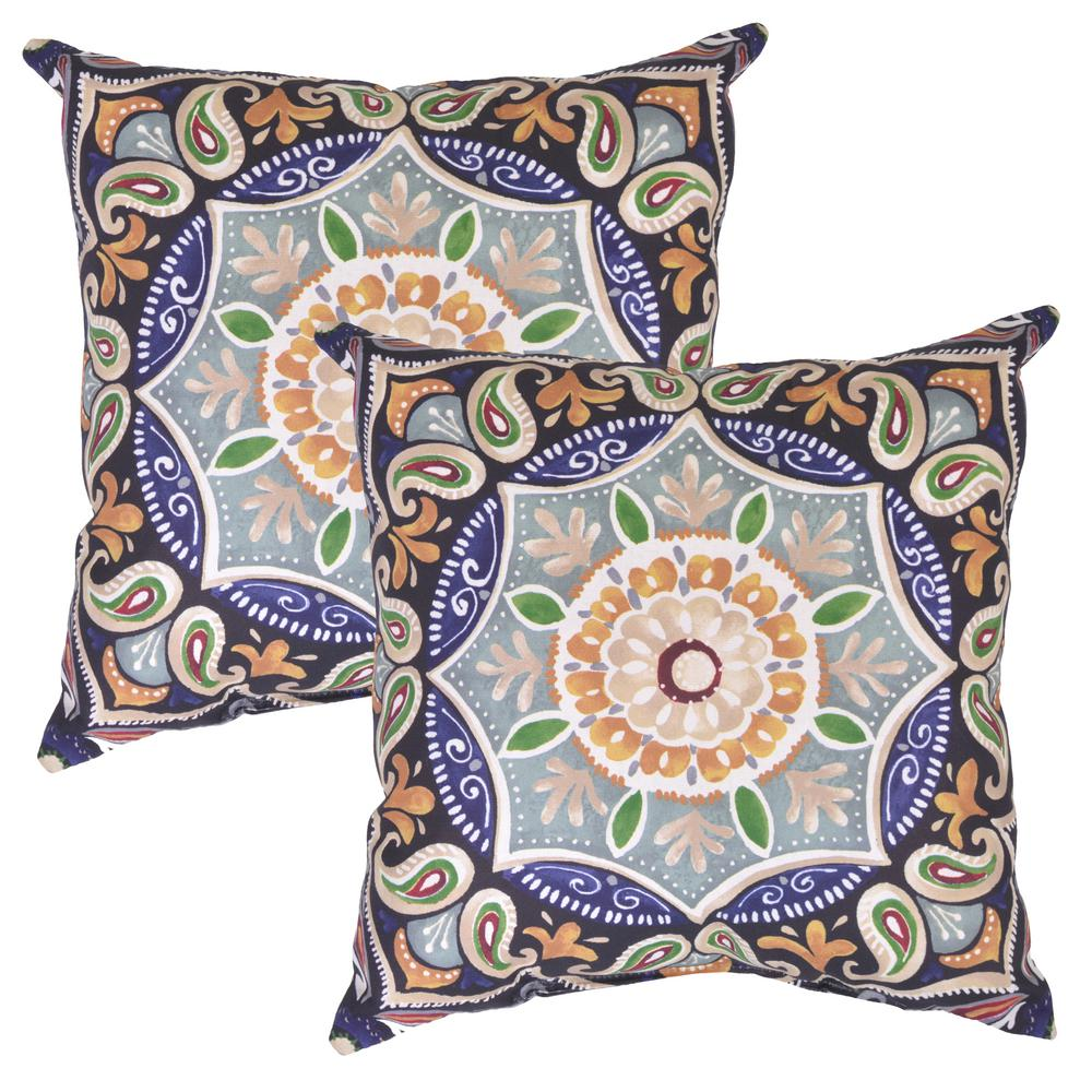 fern medallion square outdoor throw pillow 2 pack 7680 02210900 the home depot. Black Bedroom Furniture Sets. Home Design Ideas
