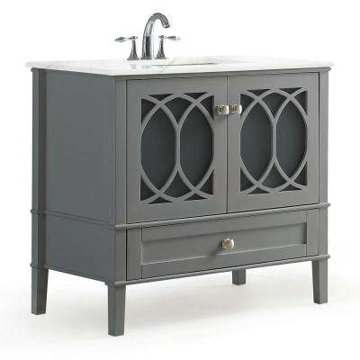 Paige 36 in. W x 21.5 in. D Bath Vanity in Warm Grey with Marble Extra Thick Vanity Top in White with White Basin