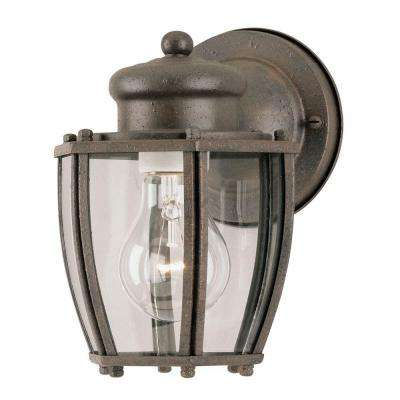 1-Light Textured Rust Patina Steel Exterior Wall Lantern with Clear Curved Glass Panels