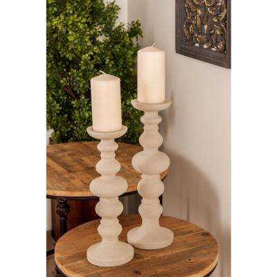Light Gray Round Segmented Polystone Candle Holders (Set of 2)