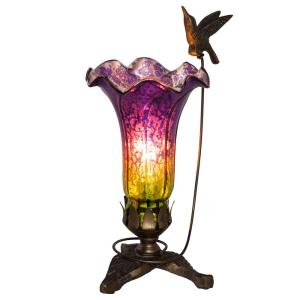 Lily Hummingbird Flying 10.25 in. Purple and Green Mercury Glass Accent Lamp