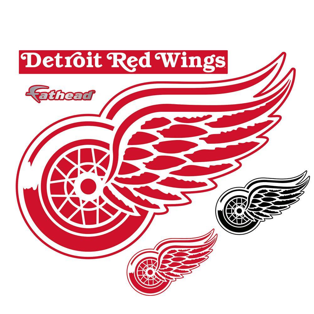 38 in. H x 51 in. W Detroit Red Wings Logo Wall Mural