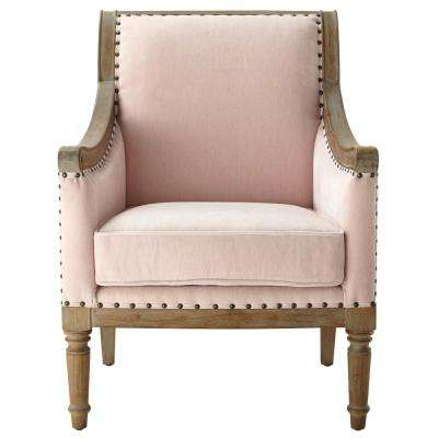 Lucie Blush Rolled Back Upholstered Accent Chair