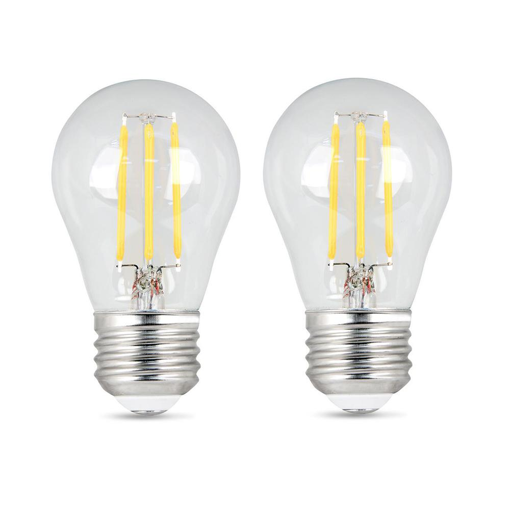 Feit Electric 40-Watt Equivalent A15 Dimmable Filament CEC Title 20 Compliant LED 90+ CRI Clear Glass Light Bulb, Soft White (2-Pack)