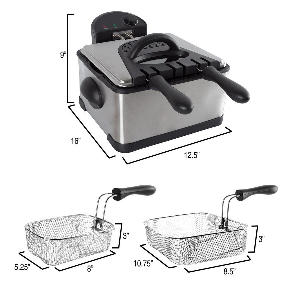 Classic Cuisine-4 Qt. 3-Basket Electric Deep Fryer (5-Piece)